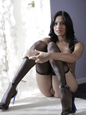 Doll in black pantyhose Giselle Mari blowing and riding a long meat pole