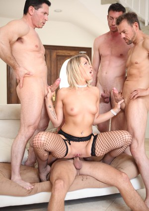 Tattooed erotic blonde Zoey Monroe gets DP  covered in cum during gangbang