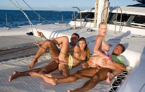 Hot chicks Tarra White and Olivia La Roche have a foursome on top of a yacht