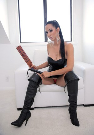 Striking brunette Isis Love in thigh high boots gets rough bang & facial