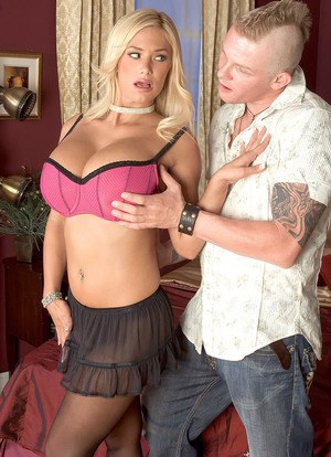 Sexy blonde chick Shyla Stylez has her big boobs exposed before fucking