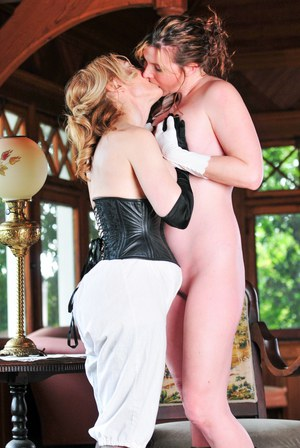 Horny mature lady has a young wench strip & spread naked for hot lesbian tease
