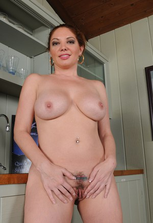 Busty Housewife Kiki Daire Peels Away Sheer Lingerie In The Kitchen To Spread