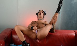 Tattooed MILF Angelina Valentine toying her tight horny ass with a vibrator