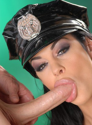 Big boobed bimbo in police uniform Angelina Valentine sucking a throbbing dong