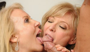 Mature ladies Erica Lauren & Nina Hartley deliver a double BJ during 3some
