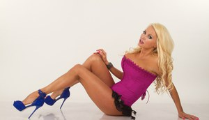 Stunning blonde Nikita Von James on her knees flashing sassy panty upskirt
