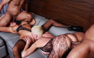 Bisexual females have a foursome fuck with a couple of big black cocks