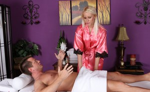 Sexy blonde Vanessa Cage in satin lingerie gets mouthful after hot blowjob