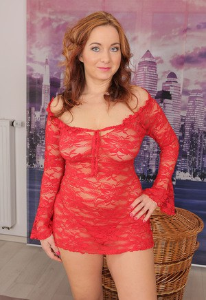 Sexy redhead Jessica Red in hot lace free her big saggy tits to toy naked