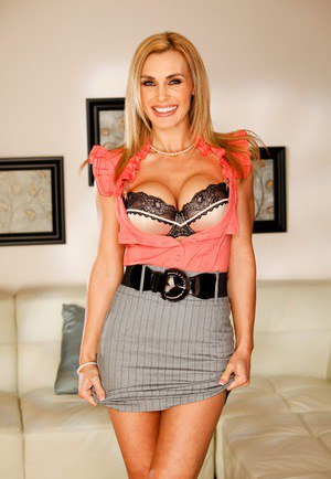 Busty MILF Tanya Tate removes classy tight skirt to model her hot lingerie