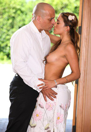 Latina chick Melanie Rios is stripped of her dress and panties by her man