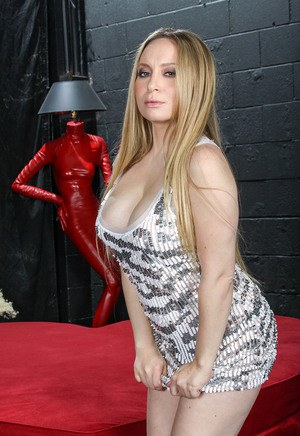Busty 35 year old Aiden Starr slips out of her tight elegant dress