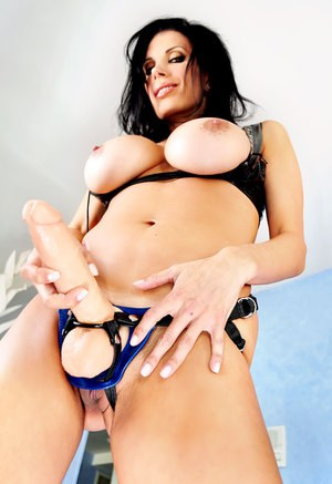 Dark haired MILF Shay Sights pegging bald man with her strapon cock