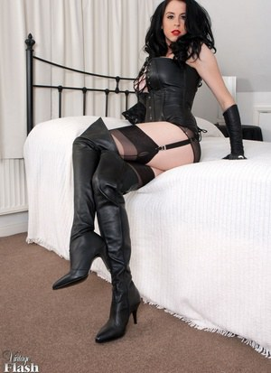 Busty beauty Louise Jenson in leather lingerie  thigh boots spreading ass