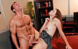 Young Latina girl Allie Haze blows and fucks her boss in his office