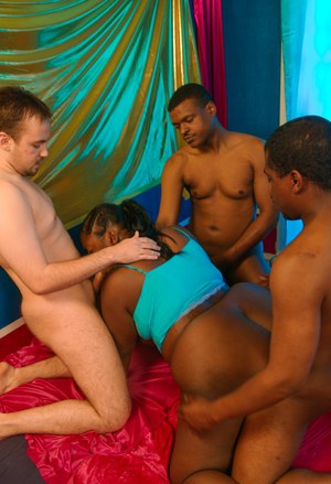 Horny BBBW Hooks gets gangbanged by both white and black men