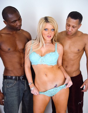 Blonde with blue eyes Sophie Dee sucks two big black dicks