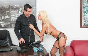 Busty blonde Courtney Taylor seduces big cock for mouthful in sheer lingerie