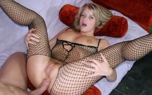 MILF pornstar Lea De Mae getting dicked in gaping asshole wearing bodystocking