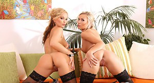 Hot blondes Silvia Saint  Michelle parts twats and asses in stockings