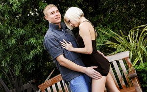 Sexy blonde Madison Mason sheds her short dress for hard cock in the garden