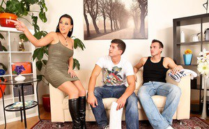 Hot Latina chick seduces a younger boy in a tight dress and knee high boots