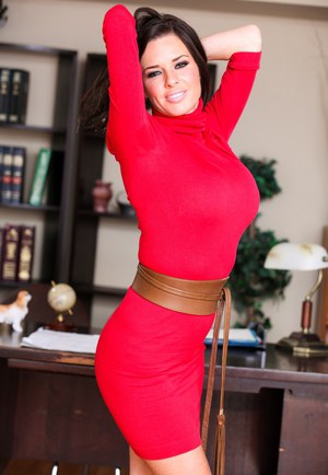 Office workers Veronica Avluv & Nadia Noir begin to share a tentative kiss