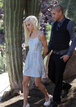 Blonde Halle Von removes her short dress to get jiggy with well dressed cock