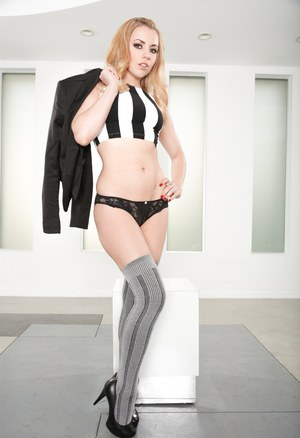 Fully clothed Lexi Belle strips to pose sexy body in socks & sheer underwear