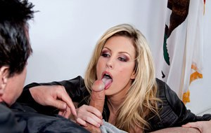 Slutty hot blonde Kiara Diane giving head for favors in courtroom