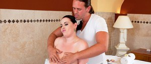BBW MILF Anna Beck shows off her giant tits while getting a massage