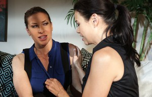 Asian female Dana Vespoli seduces Ariel X for lesbian games after some wine