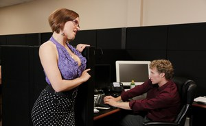 Large titted Krissy Lynn sucking & fucking Michael Vegas at the office
