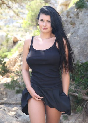 Raven haired solo model Lucy cant hold her pee any longer while vaunting tits