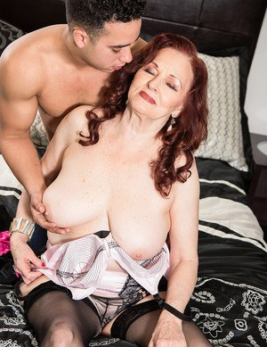 Granny with red hair Katherine Merlot sucks and fucks her toy boy