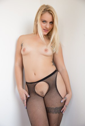 Tattooed girl Cameron Canada in sexy pantyhose flaunting her huge ass