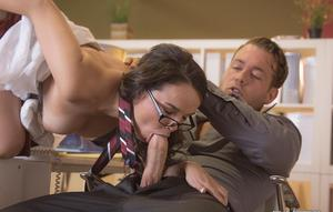Brunette Dillion Harper in glasses gets cum on tits in reality office blowjob