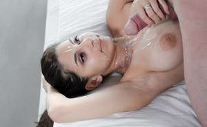 Busty girlfriend Nina North receives some serious facial cumshot after POV sex