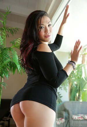 Pierced mature Asian London Keyes showing huge breasts and hot round ass