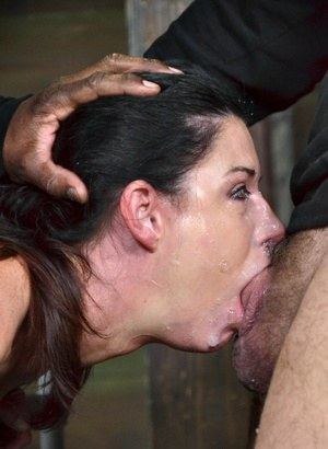 Hot brunette MILF slave gets bound and deepthroated for a mouthful of cum