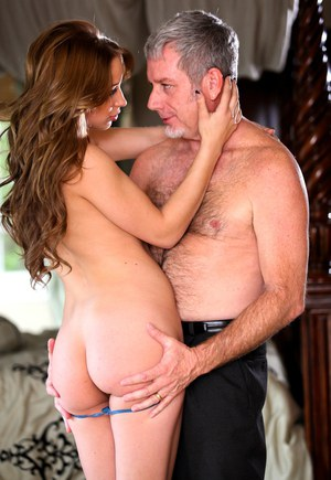 Beautiful young Alyssa Branch gives in to old man seduction  gets cum covered