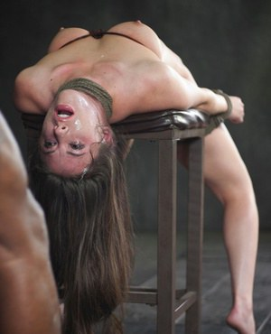 Brunette slave Casey Calvert tied up and tortured with forced deepthroat