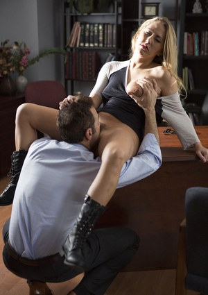 Sultry coed Carter Cruise in thong and boots banged by teacher in his office