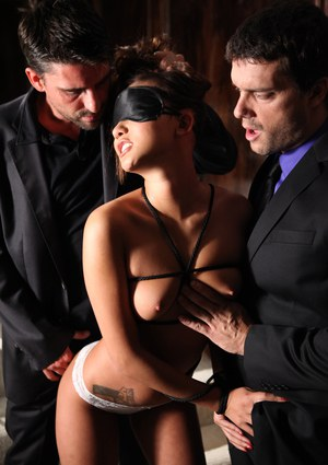 Young Asian girl Alina Li has sex with 2 men at the same time in heels