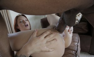 Pale redhead with tattoos Alyssa Branch gets fucked by a big black cock