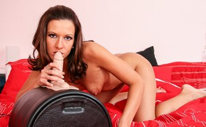 Petite MILF Maia slips off lingerie before riding Sybian sex machine to orgasm
