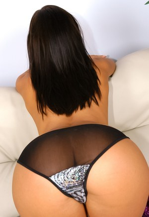 Horny Latina Sandra Romain in sheer panties & heels getting cum on ass