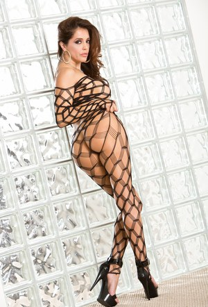 Horny Latina Francesca Le squats and bends seductively in fishnet stockings