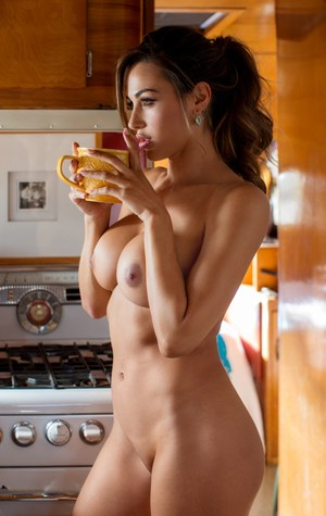 Long legged brunette centerfold model Ana Cheri exposes big breasts in kitchen